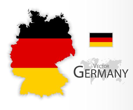 Allemagne (République fédérale d'Allemagne) (drapeau et carte) (concept de transport et de tourisme)