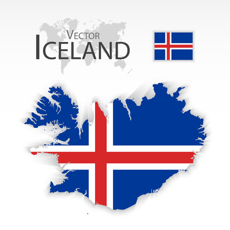 iceland flag: Iceland  ( Republic of Iceland ) ( flag and map ) ( transportation and tourism concept )