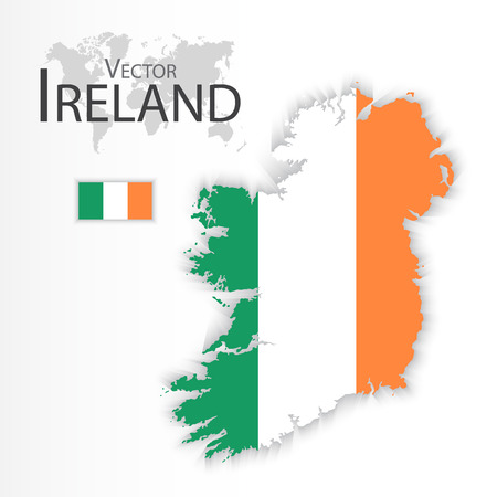 republic of ireland: Ireland ( Republic of Ireland ) ( flag and map ) ( transportation and tourism concept )