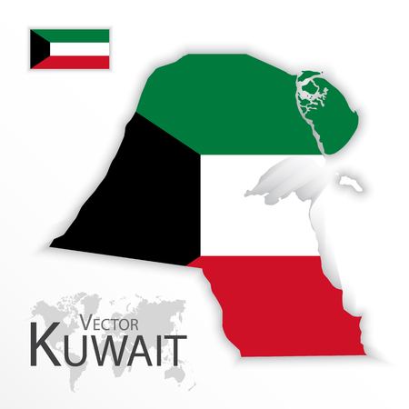 middleeast: Kuwait ( State of Kuwait ) ( flag and map ) ( transportation and tourism concept ) Illustration