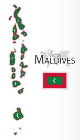 maldives island: Maldives ( Republic of Maldives ) ( flag and map ) ( transportation and tourism concept ) Illustration