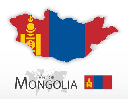 mongoloid: Mongolia ( flag and map ) ( transportation and tourism concept ) Illustration