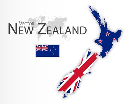 Nueva Zelanda (bandera y el mapa) (transporte y el concepto de turismo) Wellington Ilustración de vector