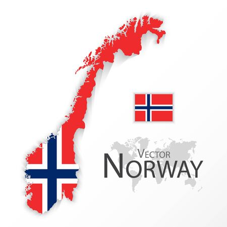 norway flag: Norway ( Kingdom of Norway ) ( flag and map ) ( transportation and tourism concept ) Illustration