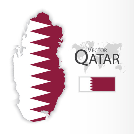 middleeast: Qatar ( State of Qatar ) ( flag and map ) ( transportation and tourism concept )