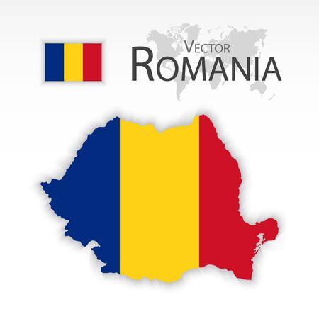 romania flag: Romania (Republic of Romania) ( flag and map ) ( transportation and tourism concept )