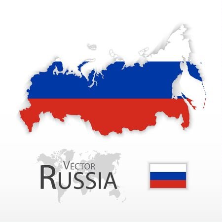 russia map: Russia ( the Russian Federation ) ( flag and map ) ( transportation and tourism concept ) Illustration