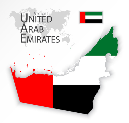 middleeast: United Arab Emirates ( flag and map ) ( transportation and tourism concept ) Illustration