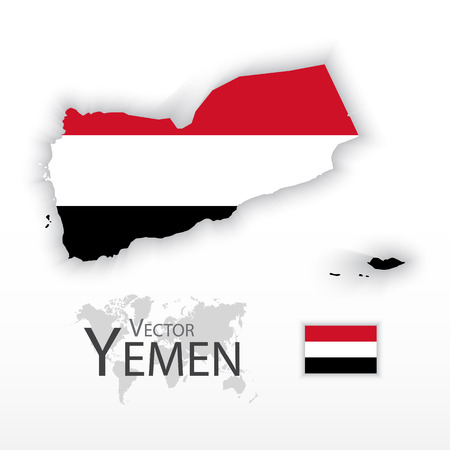 middleeast: Yemen ( Republic of Yemen ) ( flag and map ) ( transportation and tourism concept )