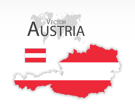 Austria ( Republic of Austria ) ( flag and map ) ( transportation and tourism concept )
