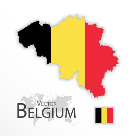 belgium flag: Belgium ( Kingdom of Belgium ) ( flag and map ) ( transportation and tourism concept )