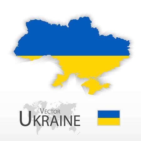 ukraine: Ukraine ( flag and map ) ( transportation and tourism concept )