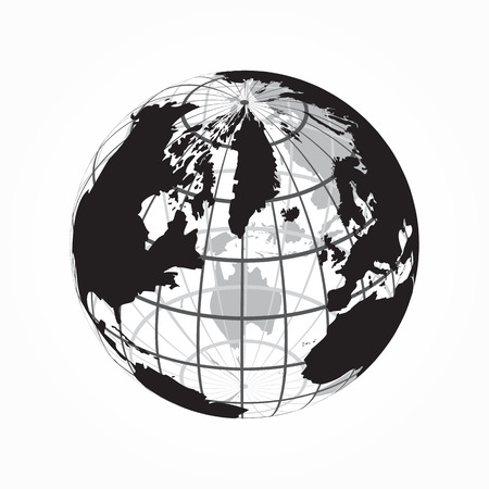 latitude: around the world ( outline of world map with latitude and longitude )