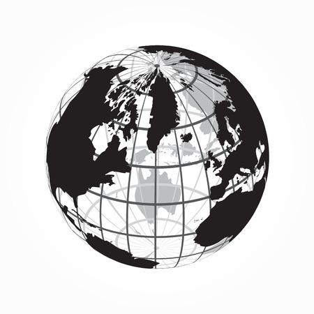 world globe: around the world ( outline of world map with latitude and longitude )