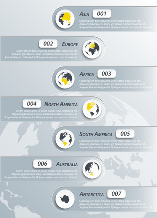 classify: Continents infographic ( asia , europe , africa , northern america , southern america , australia , antarctica )