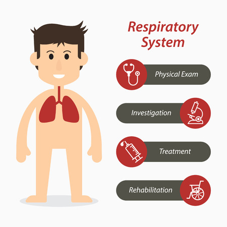 respiratory infection: Respiratory system and medical line icon