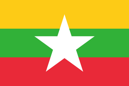 simplex: Official flag of Myanmar . Republic of the Union of Myanmar .