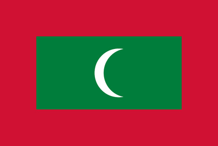 simplex: Official flag of Maldives . Republic of Maldives . Illustration