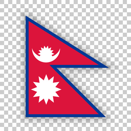simplex: Official flag of Nepal . Federal Democratic Republic of Nepal . Illustration