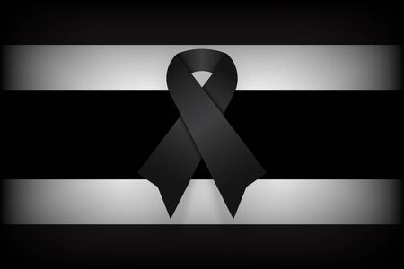 king thailand: Black ribbon on Thailand flag . dim design . mourn for king of thailand pass away . rest in peace .