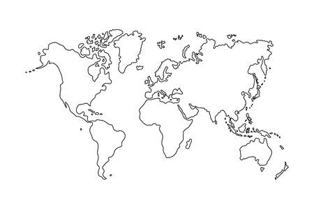 Schets van de wereldkaart op een witte achtergrond Stockfoto - 69345114