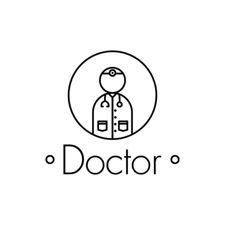 saludable logo: icono del contorno médico sobre fondo blanco