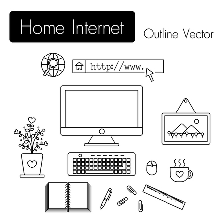 pen and paper: Home Internet . computer and modern workspace and equipment ( monitor screen , keyboard , mouse , picture frame , cup of coffee , notebook , pen , paper clip , ruler , flowerpot ) in room .