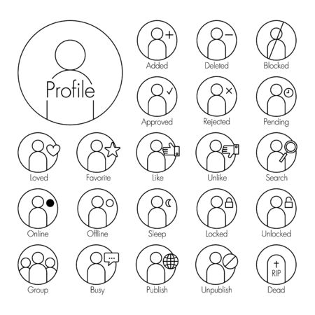 liked: Status icon . man icon with several status( added , deleted , blocked , approve , reject , pending , love , favorite , liked , unliked , search , sleep , locked , unlocked , busy , unpublish , dead ) Illustration