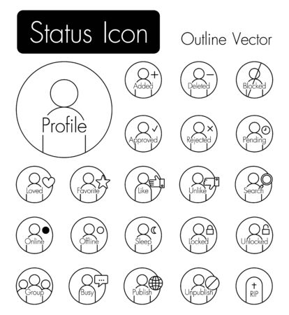 status icon: Status icon . Person icon with many status and text