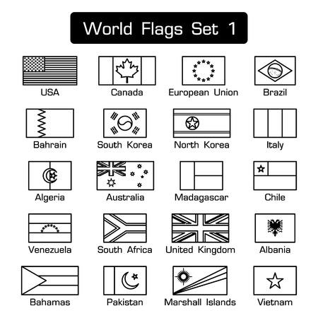 Drapeaux du monde fixés 1. style simple et design plat. contour épais. noir et blanc .