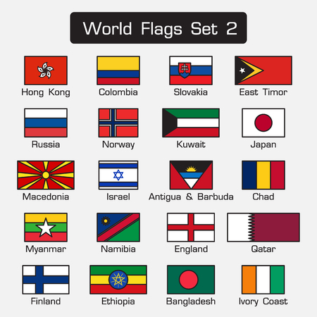 antigua: World flags set 2 . simple style and flat design . thick outline . Illustration