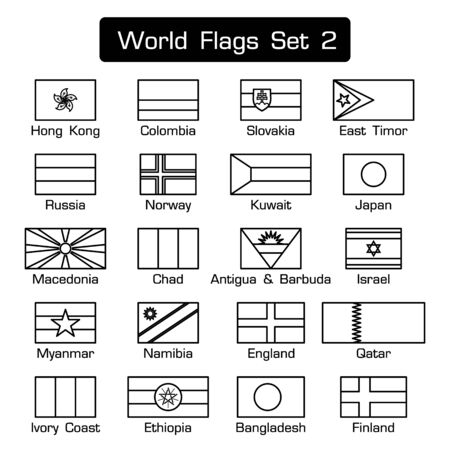 World flags set 2 . simple style and flat design . thick outline . black and white .