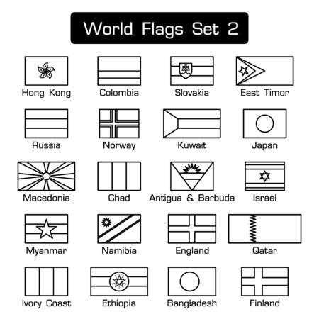 Wereld vlaggen set 2. eenvoudige stijl en plat ontwerp. dikke omtrek. zwart en wit . Vector Illustratie