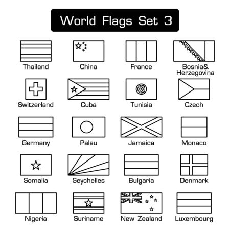 Vlaggen van de wereld set 3. eenvoudige stijl en platte design. dikke omtrek.