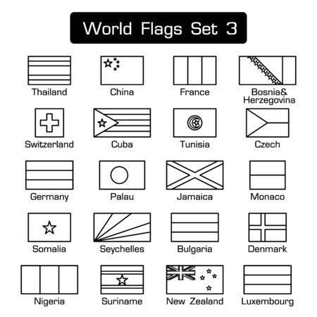 세계 플래그 설정 3입니다. 간단한 스타일과 평면 디자인. 두꺼운 외곽.