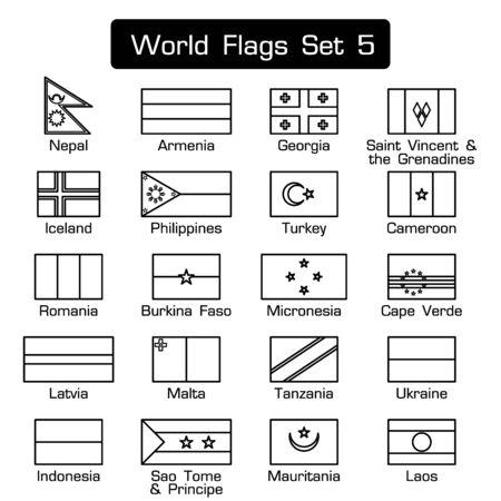 Drapeaux du monde mis 5. style simple et design plat. contour épais.