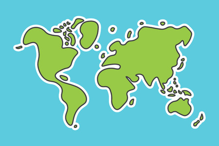 easy: Doodle style world map . Look like children craft painting . Illustration