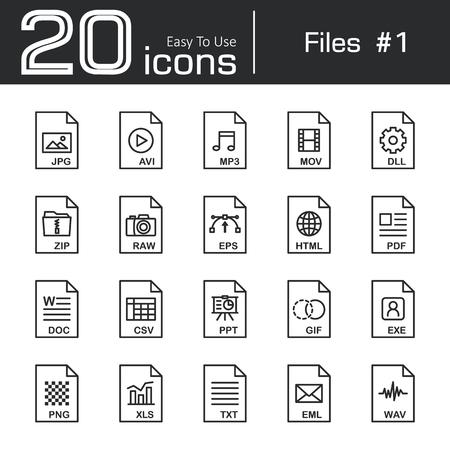 ppt: Files icon set 1 ( jpg , avi , mp3 , mov , dll , zip , raw , eps , html , pdf , doc , csv , ppt , gif , exe , png , xls , txt , eml , wav )