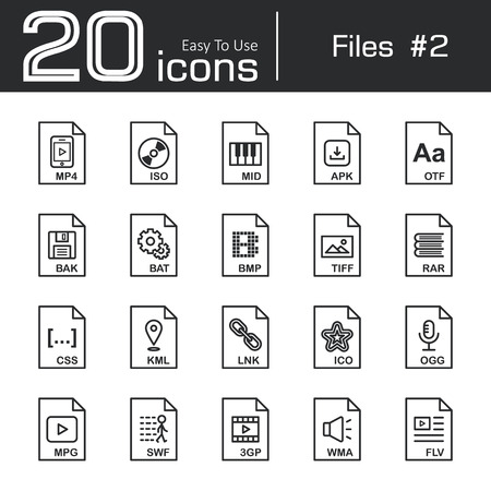 ico: Files icon set 2 ( mp4 , iso , mid , apk , otf , bak , bat , bmp , tif , rar , css , kml , ink , ico , ogg , mpg , swf , 3gp , wma , flv ) Illustration