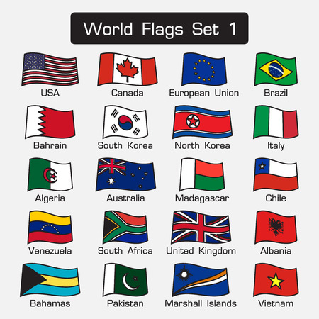 world flags: World flags set 1 . simple style and flat design . thick outline . Illustration