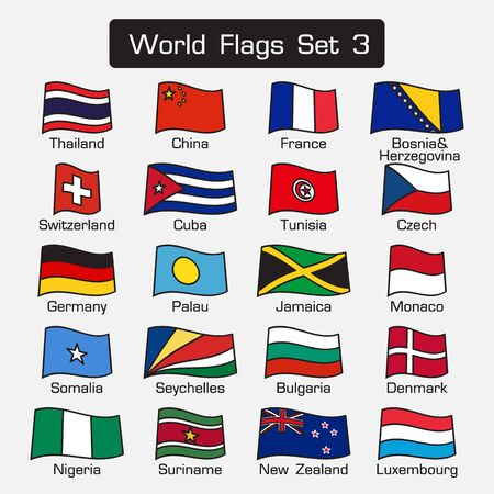 suriname: World flags set 3 . simple style and flat design . thick outline .
