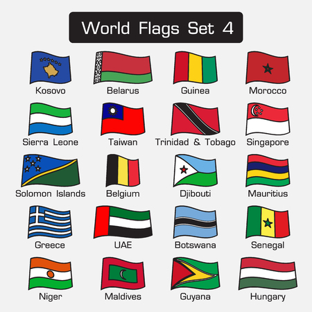 world flags: World flags set 4 . simple style and flat design . thick outline . Illustration