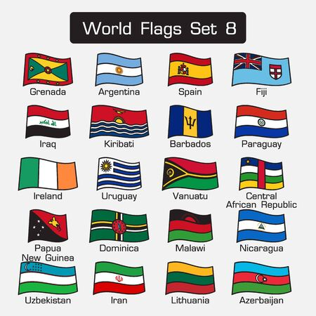 world flags: World flags set 8 . simple style and flat design . thick outline . Illustration
