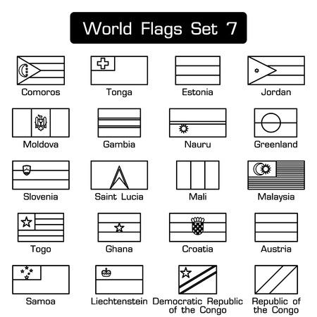 banderas del mundo fije 7. estilo sencillo y diseño plano. esbozo de espesor.