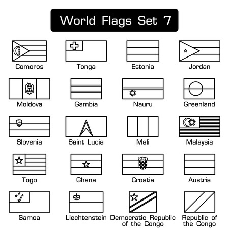 world flags: World flags set 7 . simple style and flat design . thick outline .