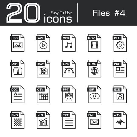 mov: Files icon set 4 ( jpg , avi , mp3 , mov , dll , zip , raw , eps , html , pdf , doc , csv , ppt , gif , exe , png , xls , txt , eml , wav ) Illustration