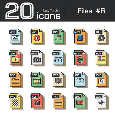 mov: Files icon set 6 ( jpg , avi , mp3 , mov , dll , zip , raw , eps , html , pdf , doc , csv , ppt , gif , exe , png , xls , txt , eml , wav ) vintage and retro style .