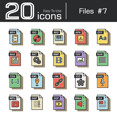 mpg: Files icon set 7 ( mp4 , iso , mid , apk , otf , bak , bat , bmp , tif , rar , css , kml , ink , ico , ogg , mpg , swf , 3gp , wma , flv ) vintage and retro style .