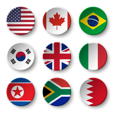 usa flags: Set of world flags round badges ( USA . Canada . Brazil . South korea . United kingdom of great britain . Italy . North korea . South africa . Bahrain )