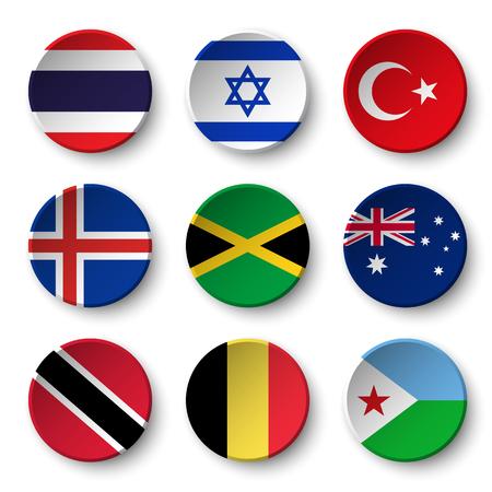Set of world flags round badges ( Thailand . Israel . Turkey . Iceland . Jamaica , australia , Trinidad and tobago . Belgium . Djibouti ) Illustration